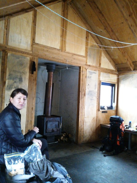 Laura warming up inside Michell Hut