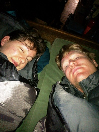 Justin & Laura in their sleeping bags in Cleve Cole Hut