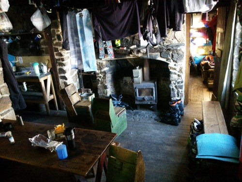 The cozy interior of Cleve Cole Hut